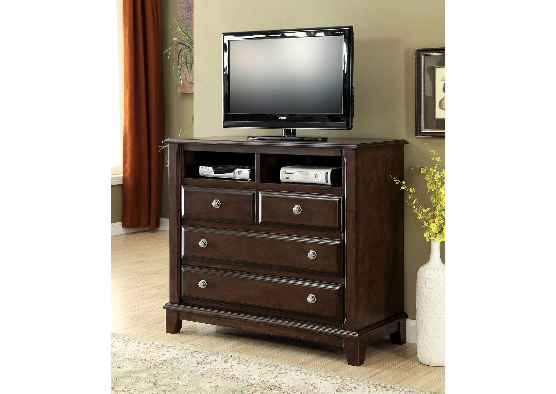 Litchville Brown Cherry Media Chest,Furniture of America