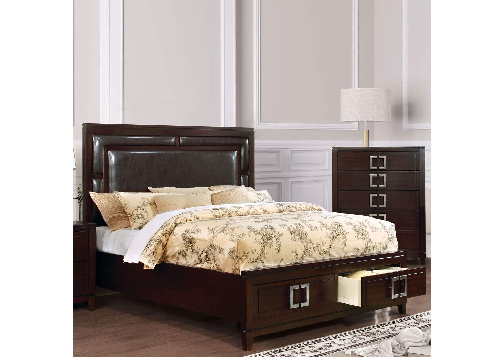 Balfour Brown Cherry Queen Storage Bed,Furniture of America