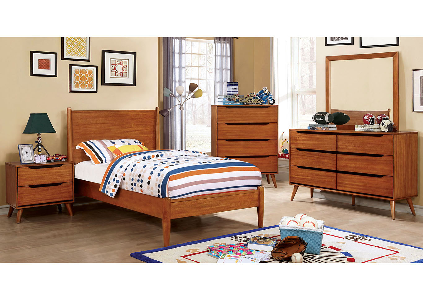 Lennart I Oak Twin Platform Bed w/Dresser and Mirror,Furniture of America TX