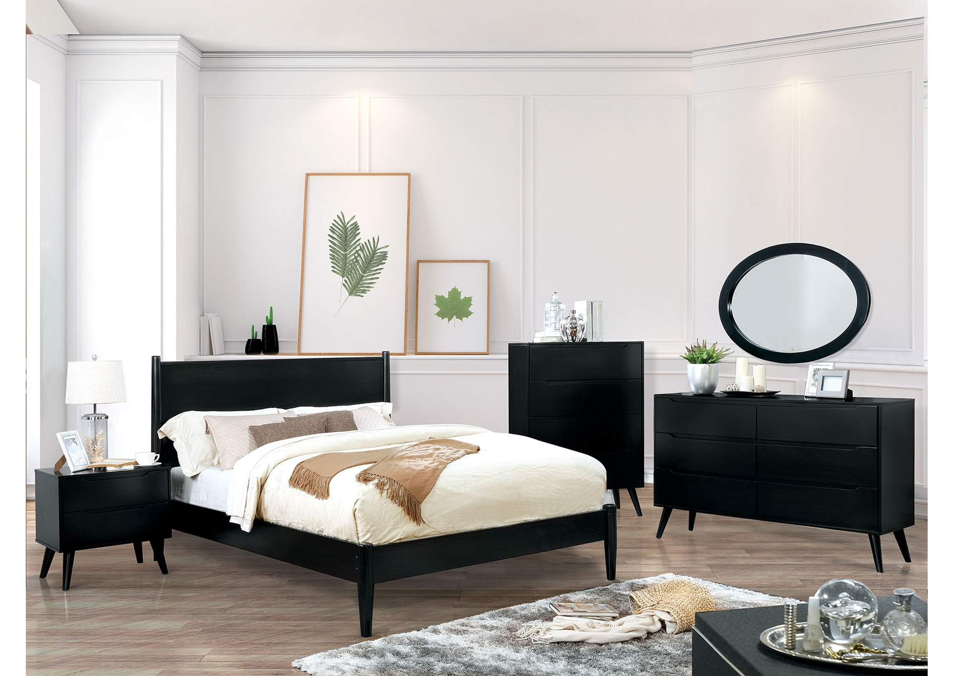 Lennart II Black Queen Platform Bed,Furniture of America