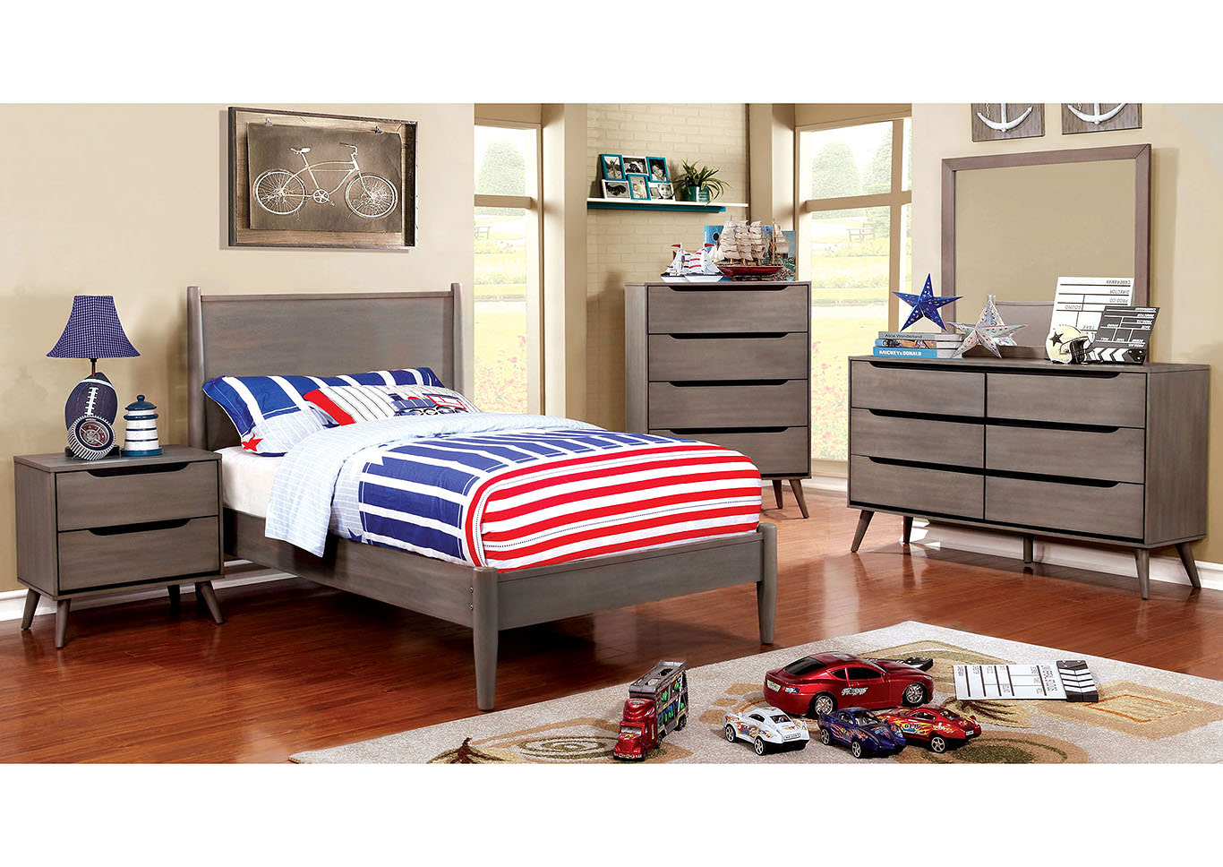 Lennart I Gray Twin Platform Bed w/Dresser and Mirror,Furniture of America TX