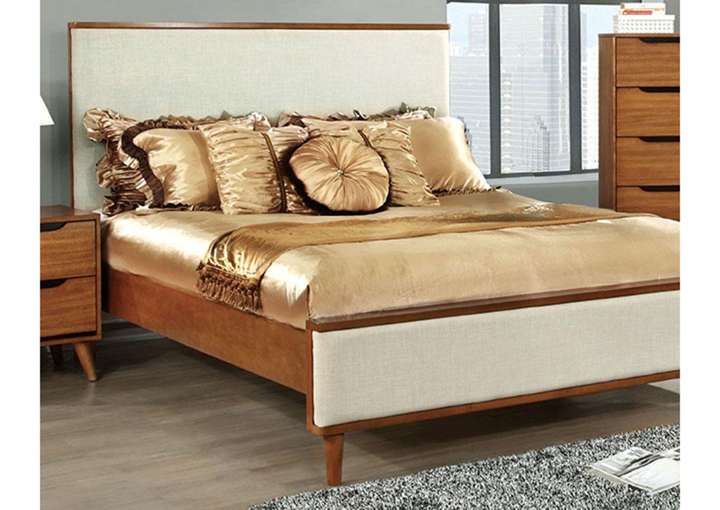 Flamingo furniture lennart oak upholstered eastern king platform bed