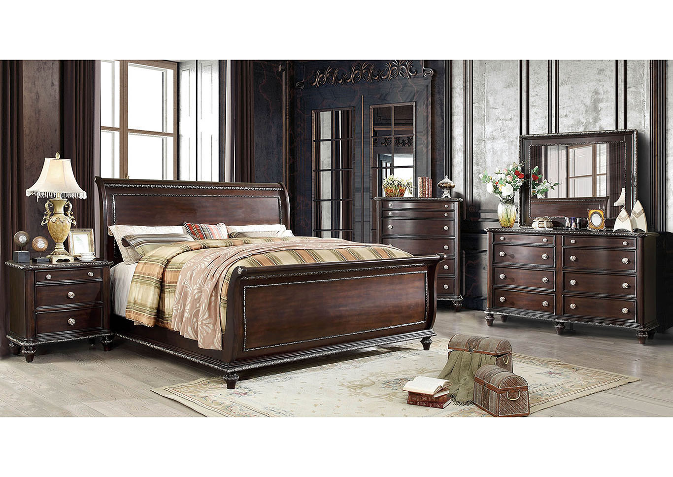 Europa Espresso Queen Sleigh Bed,Furniture of America
