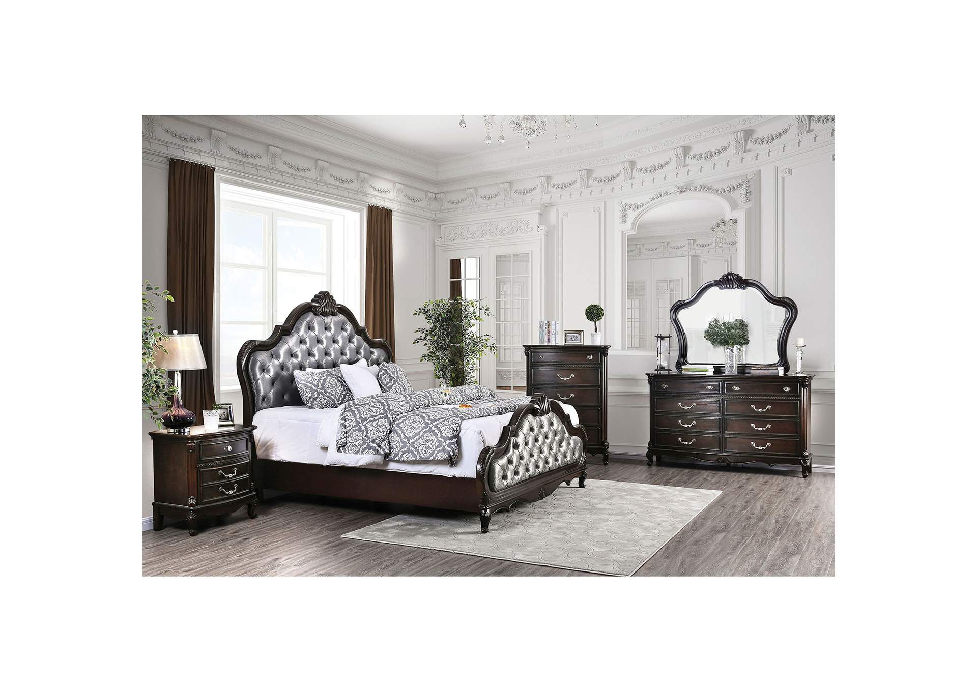 Bethesda Espresso Upholstered Queen Panel Bed w/Dresser and Mirror,Furniture of America