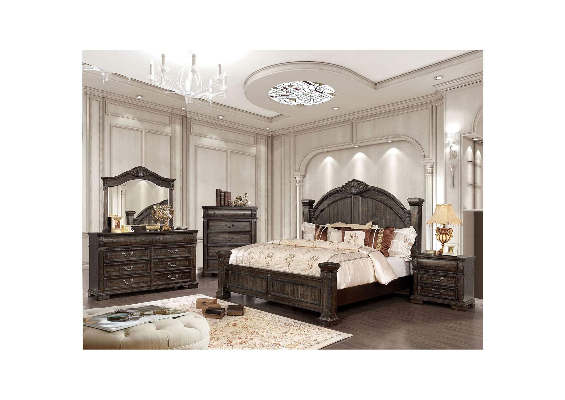 Genevieve Distressed Walnut Queen Low Poster Bed w/Dresser and Mirror,Furniture of America
