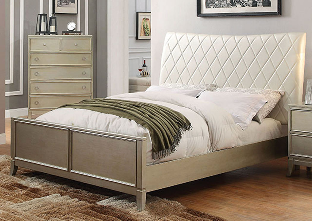Enid Silver Gray Upholstered/Platform Queen Bed,Furniture of America