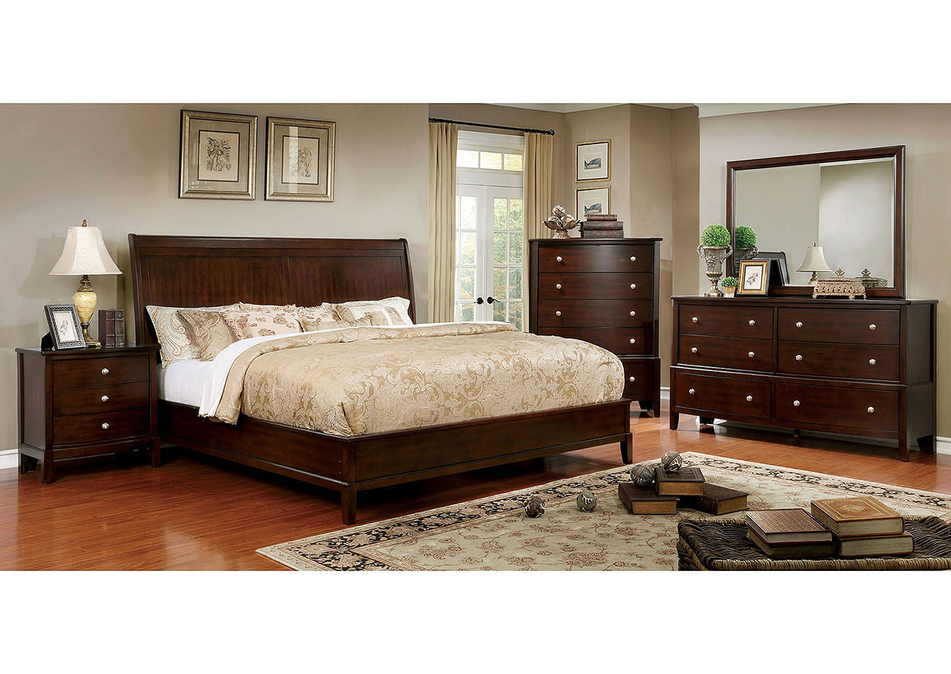 Ferrero Brown Cherry Queen Bed,Furniture of America