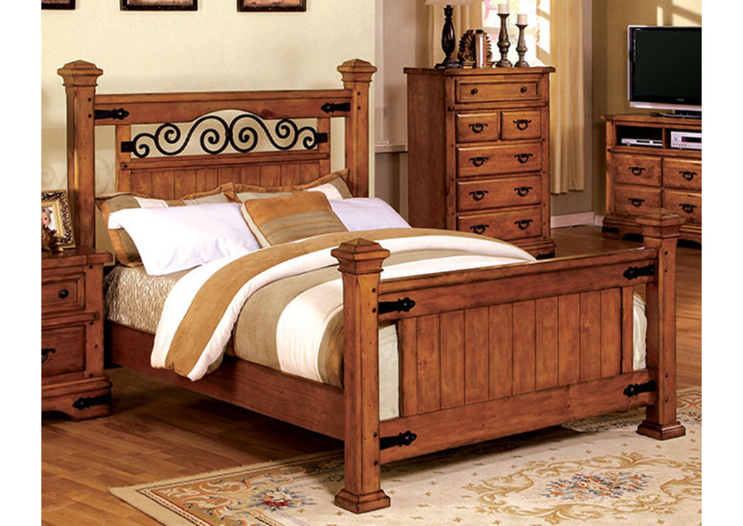 Sonoma American Oak Queen Low Poster Bed,Furniture of America