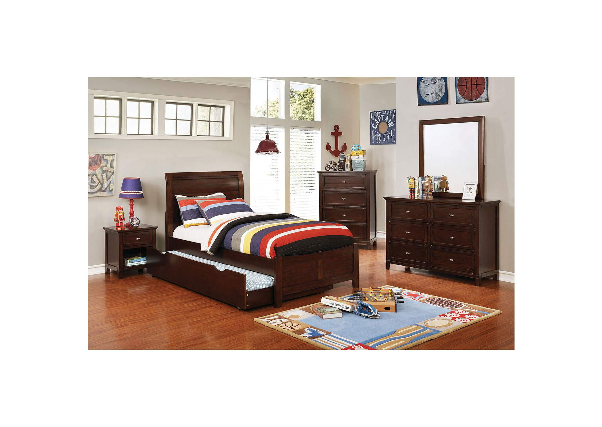 Brogan Brown Full Sleigh Bed w/Trundle,Furniture of America