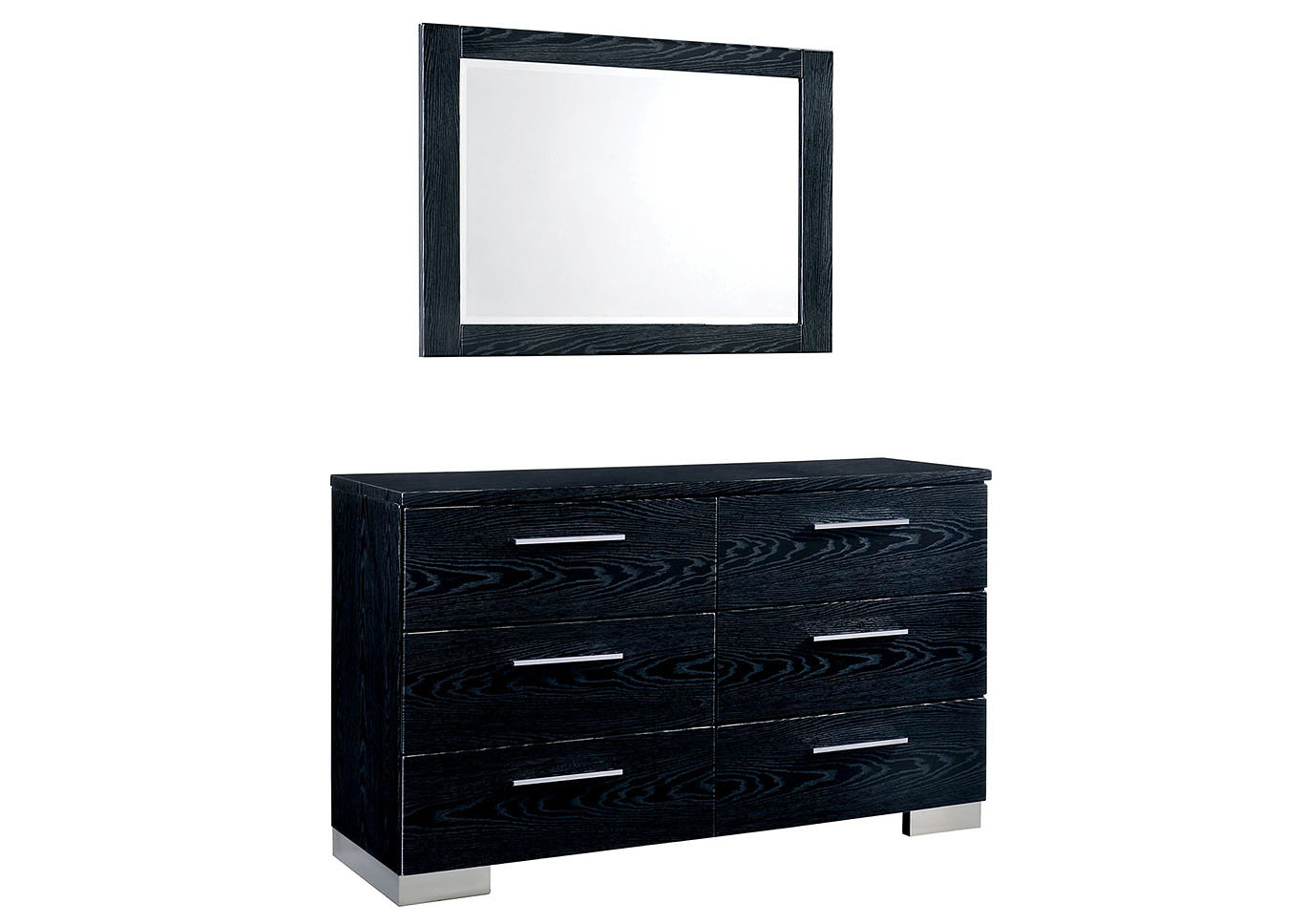 Christie Black Lacquer Dresser w/Mirror,Furniture of America