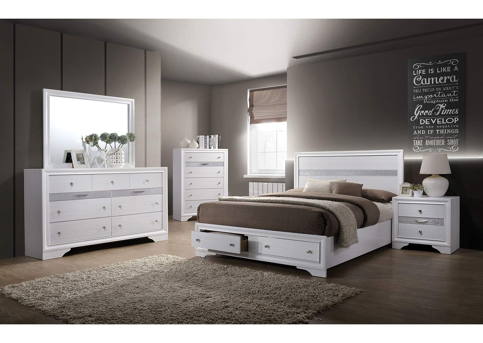 Surprising Best Buy Furniture And Mattress Chrissy White Queen Storage Bed Beutiful Home Inspiration Ommitmahrainfo