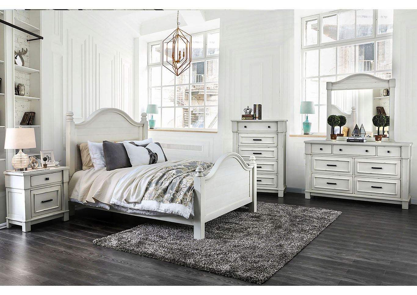 Daria Antique White Camelback California King Panel Bed w/Dresser and Mirror,Furniture of America