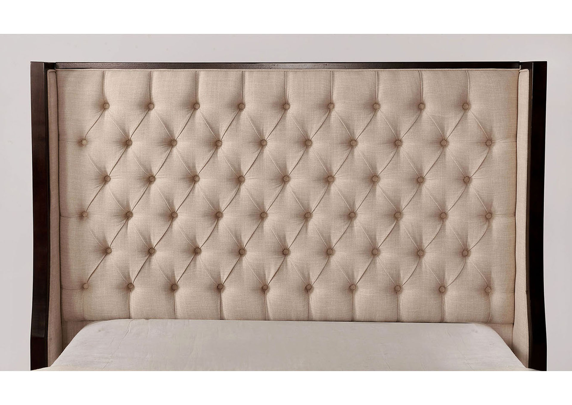 Camille Beige/Espresso Upholstered Queen Bed,Furniture of America