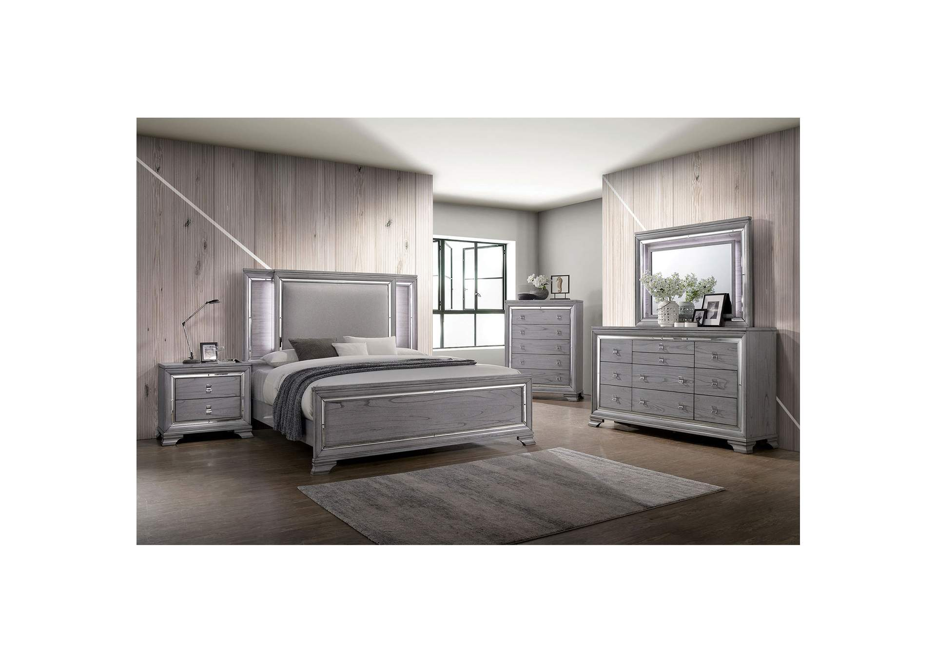 Alanis Light Gray Mirror/LED Trim Queen Panel Bed w/Dresser and Mirror,Furniture of America