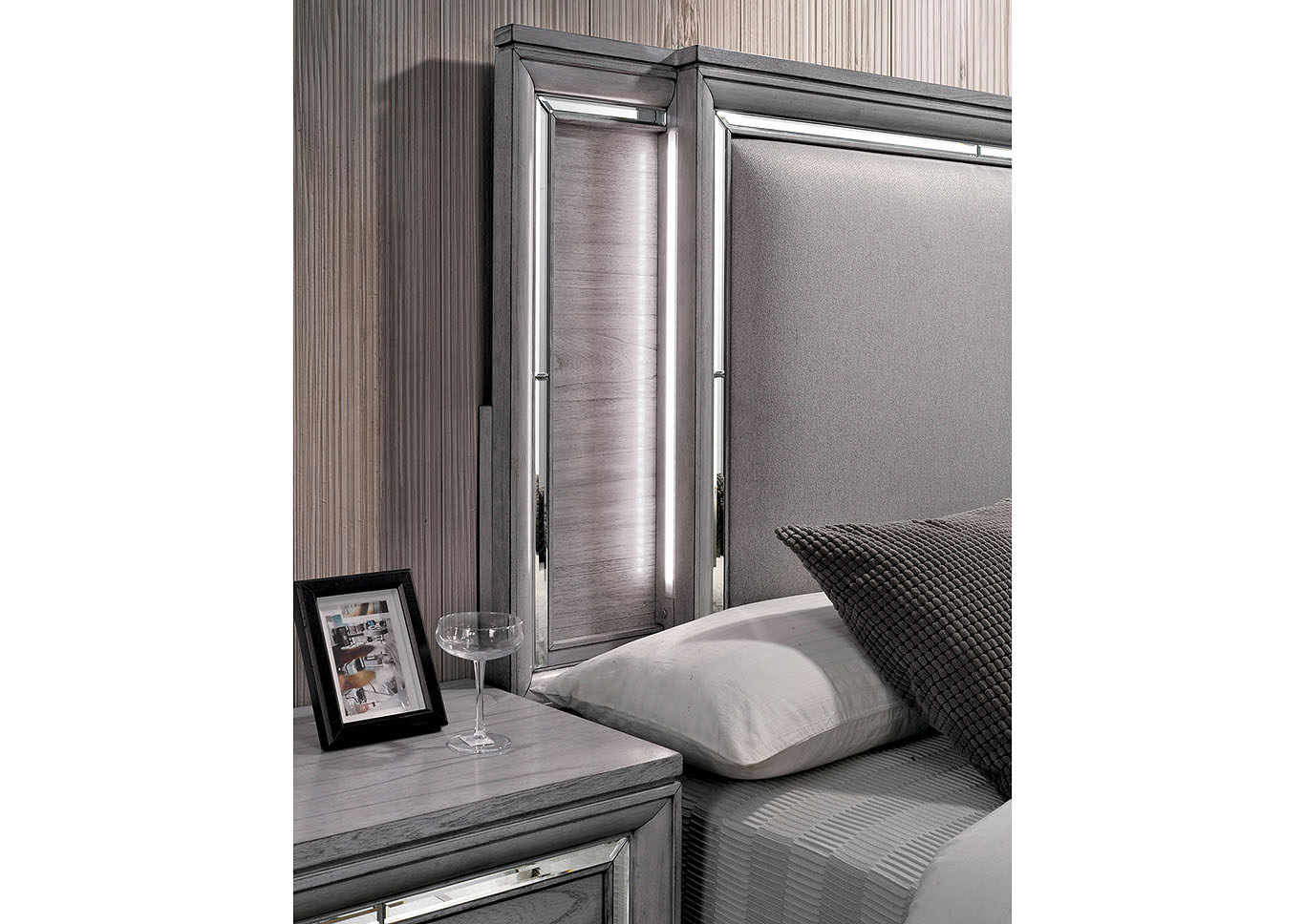 Alanis Light Gray Mirror/LED Trim California King Panel Bed w/Dresser and Mirror,Furniture of America