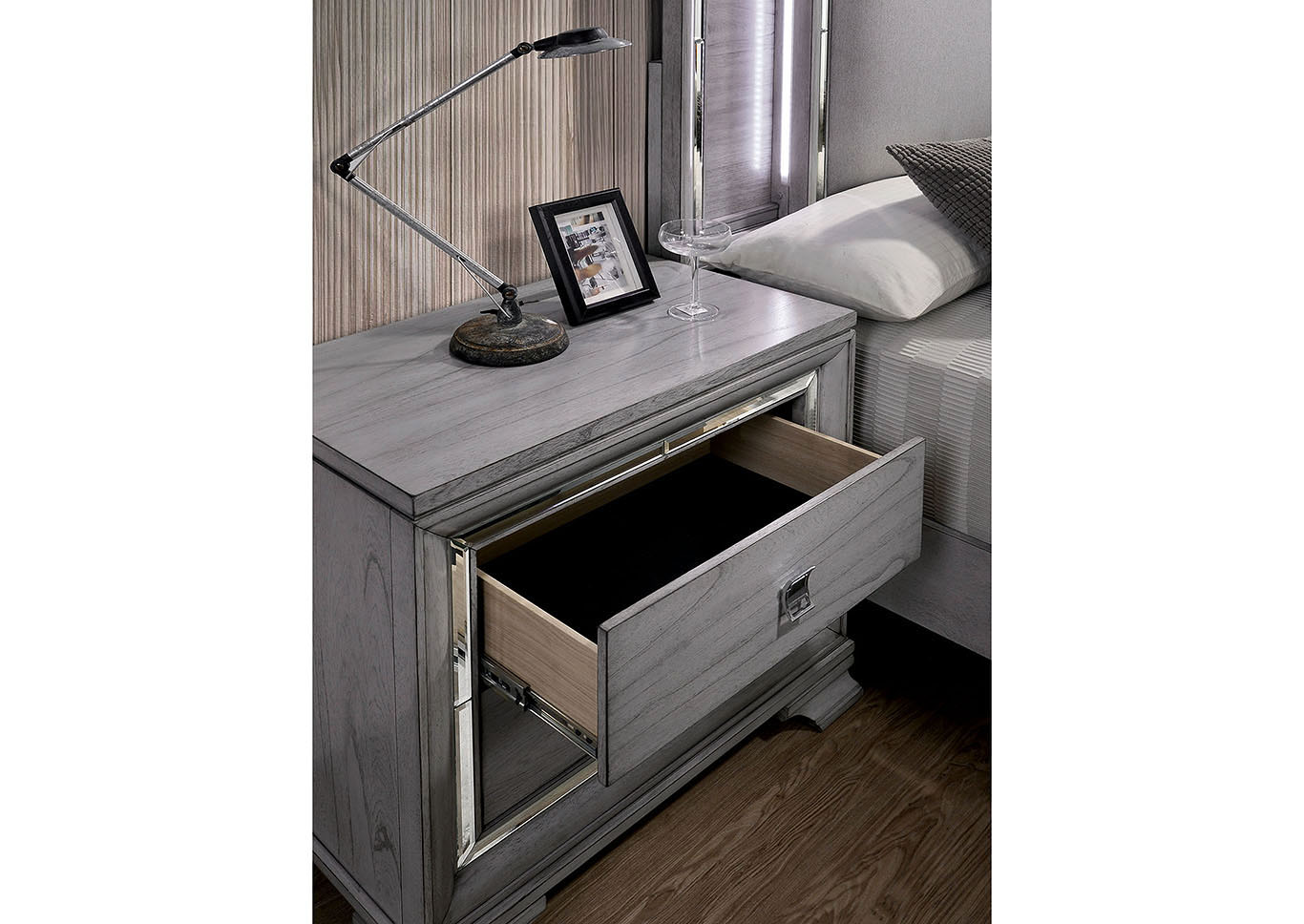 Alanis Light Gray Nightstand w/Mirror Trim,Furniture of America