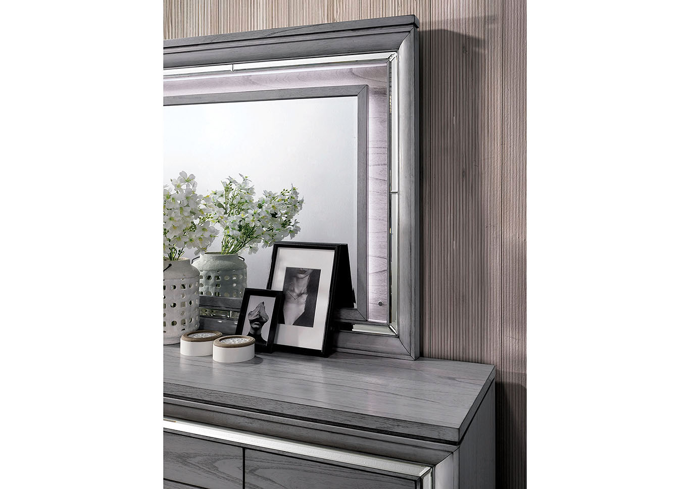 Alanis Light Gray Dresser w/Mirror Trim,Furniture of America