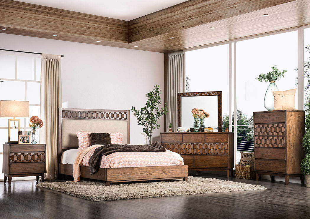 Kallisto Chestnut Brown Queen Upholstered Panel Bed,Furniture of America