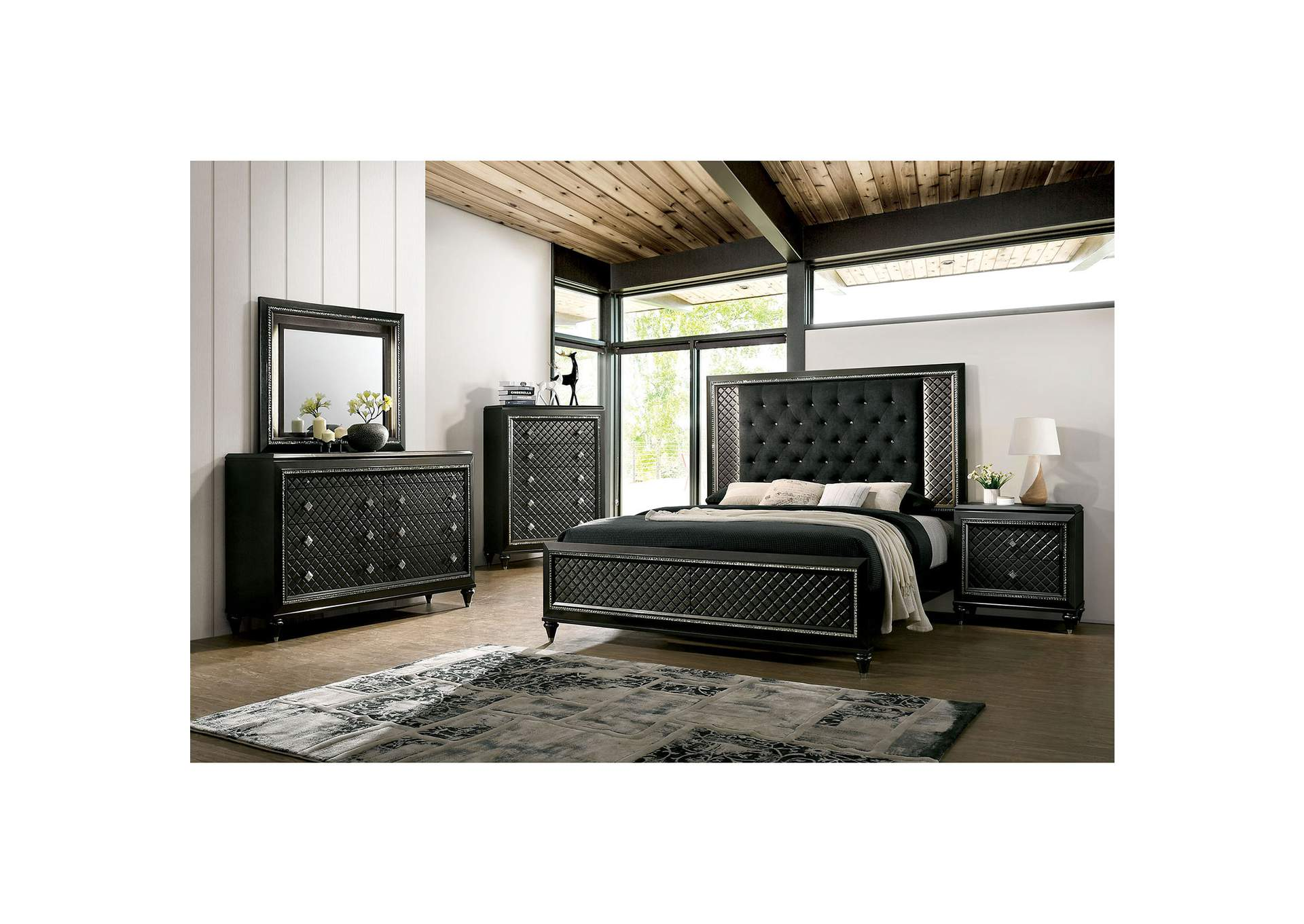 Demetria Black/Metallic Gray LED Eastern King Panel Bed w/Dresser and Mirror,Furniture of America