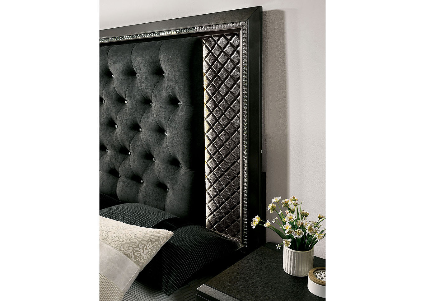 Demetria Black/Metallic Gray Eastern King Panel Bed w/LED Trim,Furniture of America