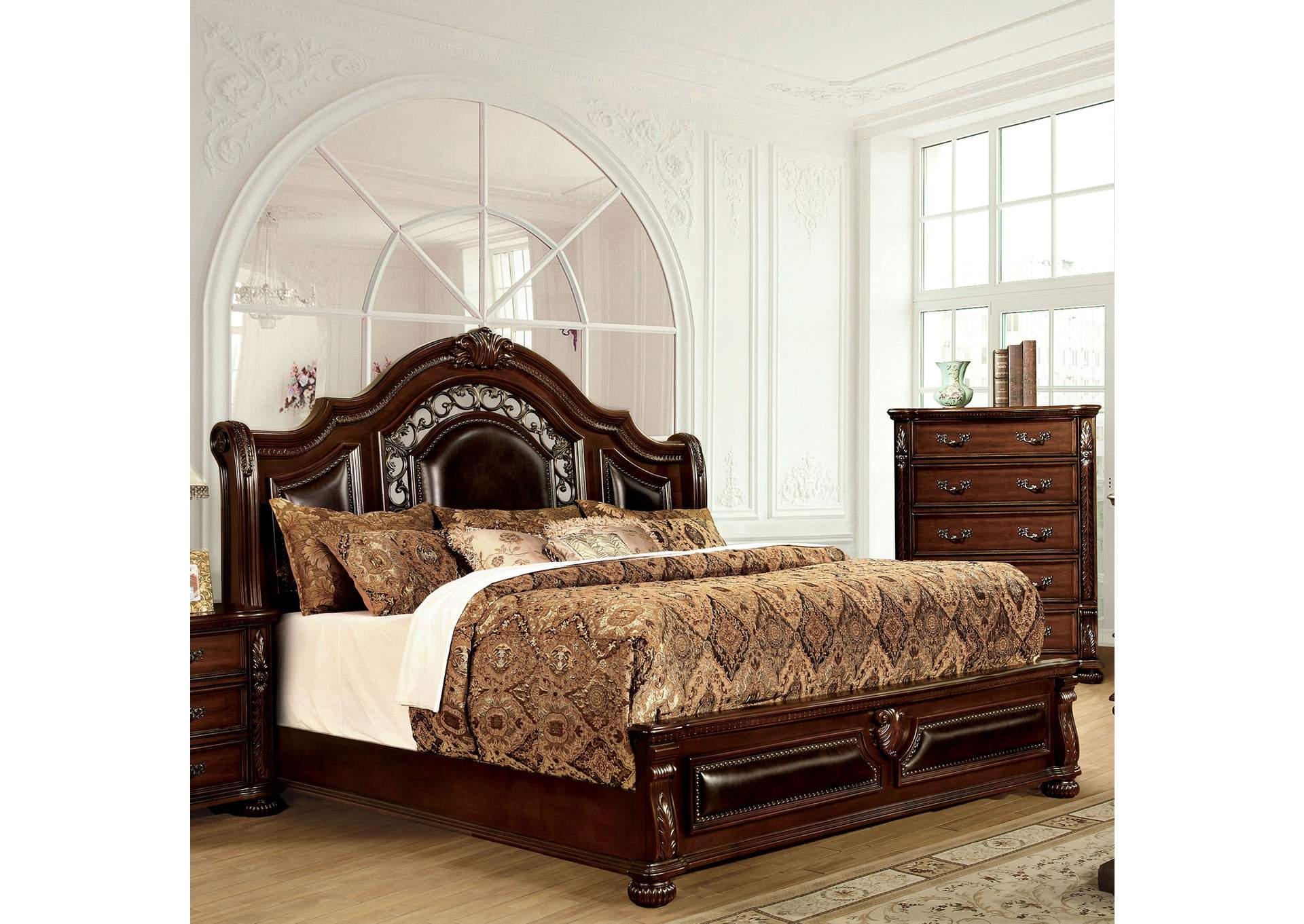 Flandreau Brown Cherry Queen Platform Bed,Furniture of America