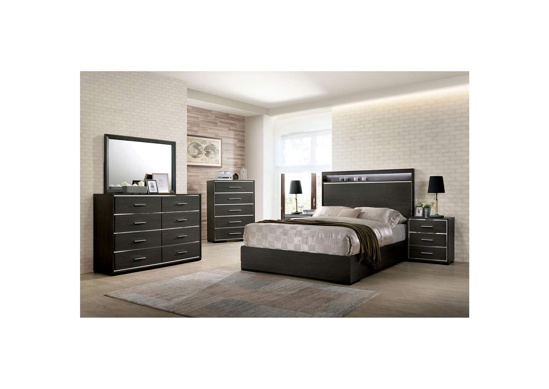 Camryn Warm Gray Eastern King Platform Bed w/LED Lights and Chrome Trim,Furniture of America