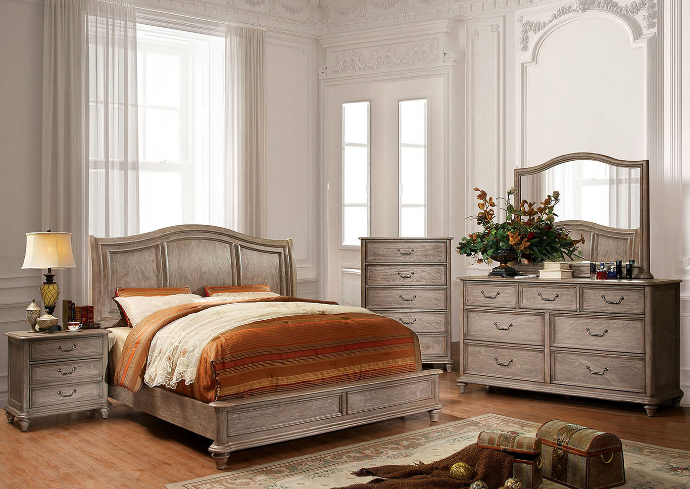 Belgrade II Rustic Natural Tone Queen Platform Bed w/Dresser, Mirror, Drawer Chest, and Nightstand,Furniture of America