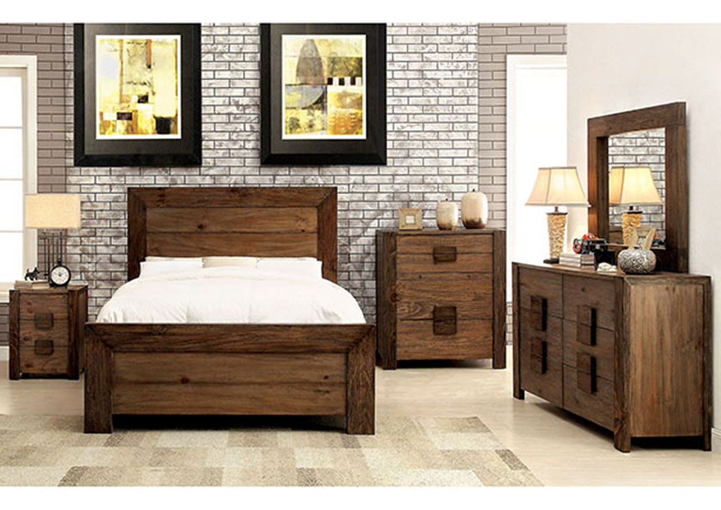 Aveiro Rustic Natural Tone Queen Platform Bed W/Dresser, Mirror, Drawer  Chest,