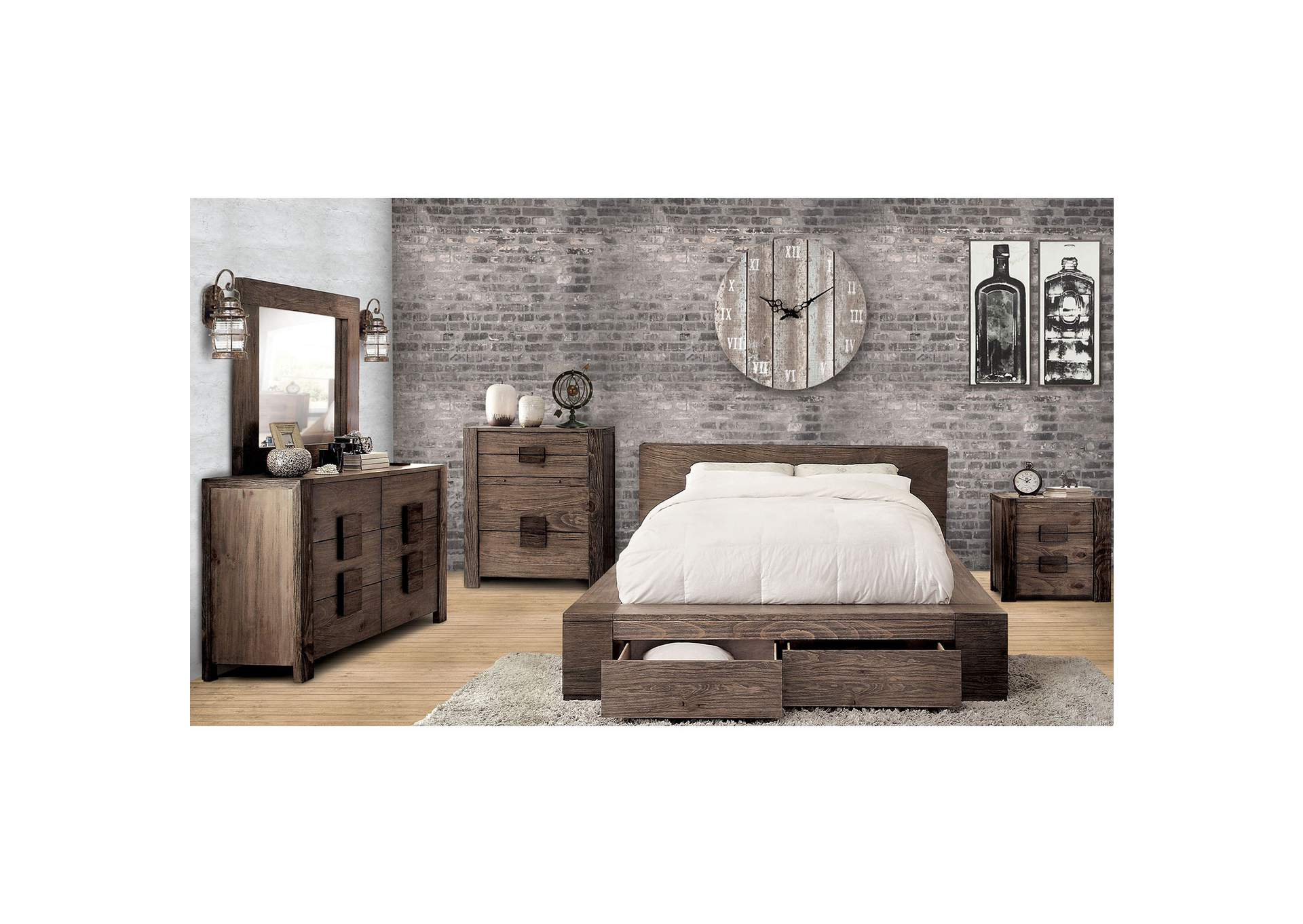 Janeiro Rustic Natural Tone Queen Platform/Storage Bed,Furniture of America