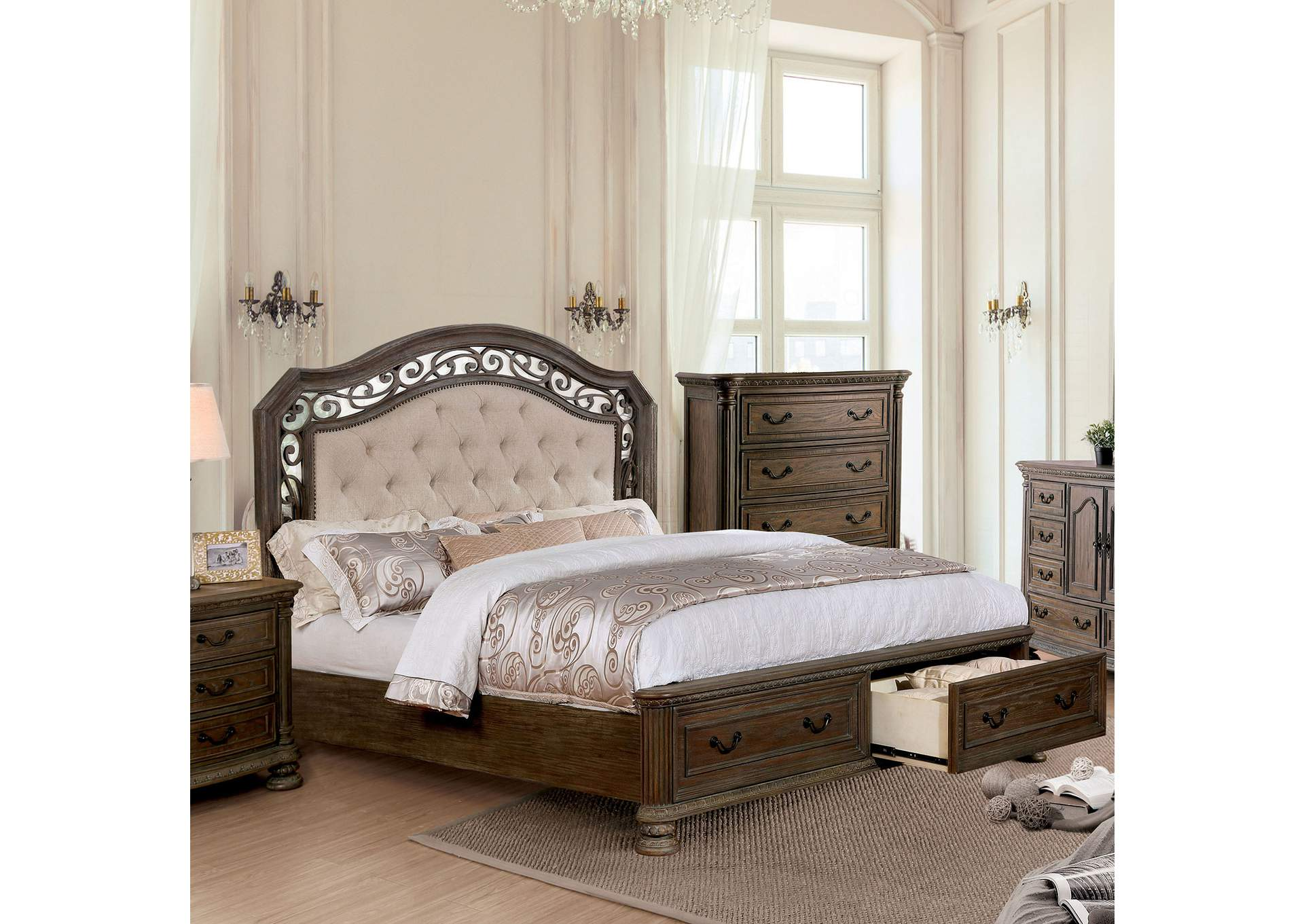 Persephone Rustic Natural California King Storage Bed,Furniture Of America