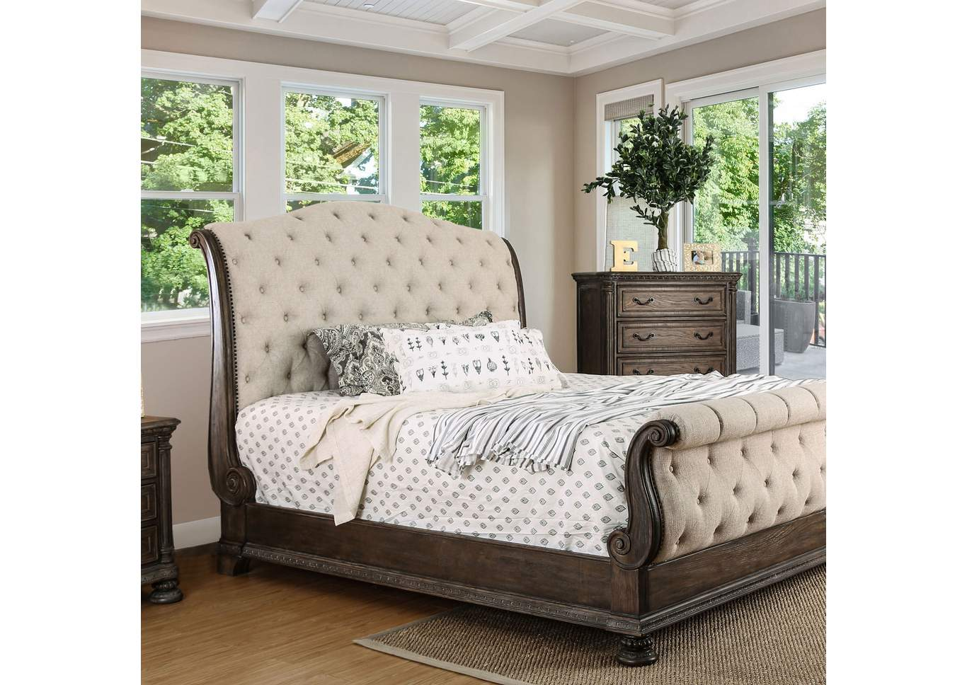 Lysandra Rustic Natural Upholstered Sleigh Queen Bed,Furniture of America