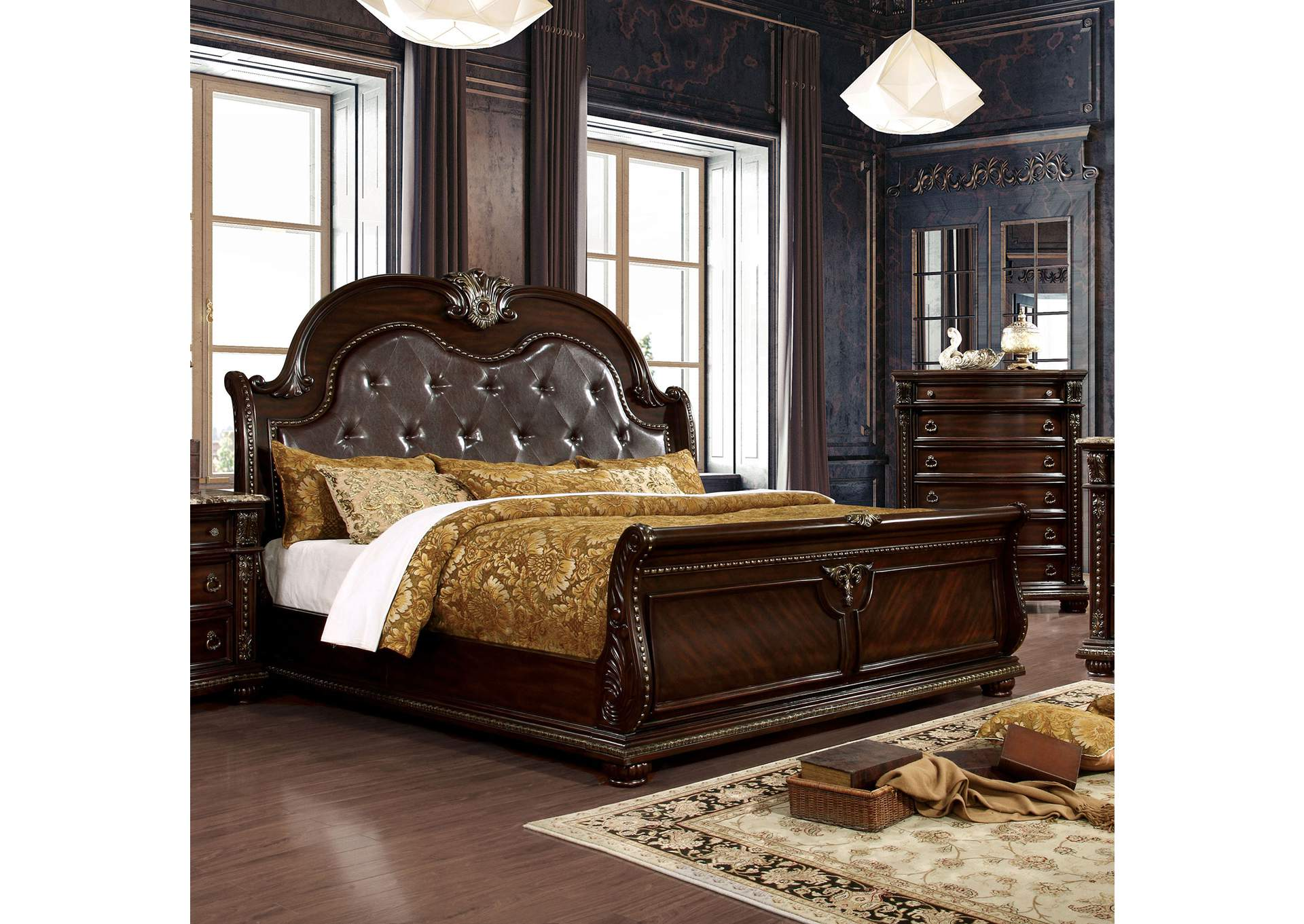 Fromberg Brown Cherry Queen Sleigh Bed,Furniture of America