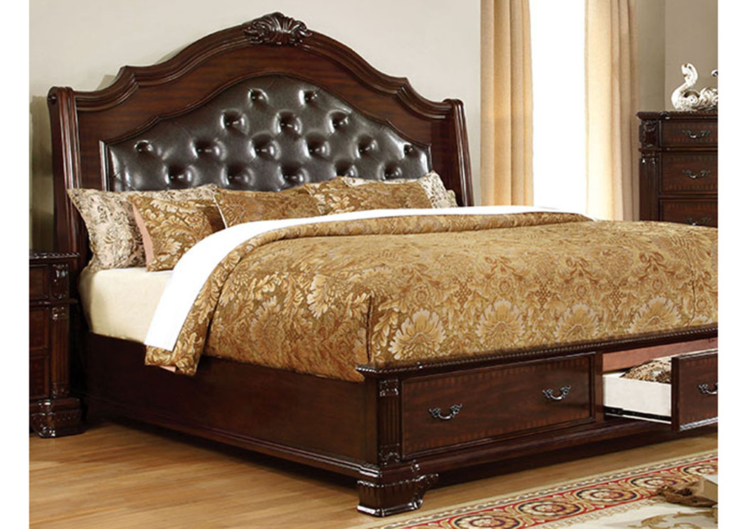 Edinburgh Brown Cherry Queen Storage Bed,Furniture of America