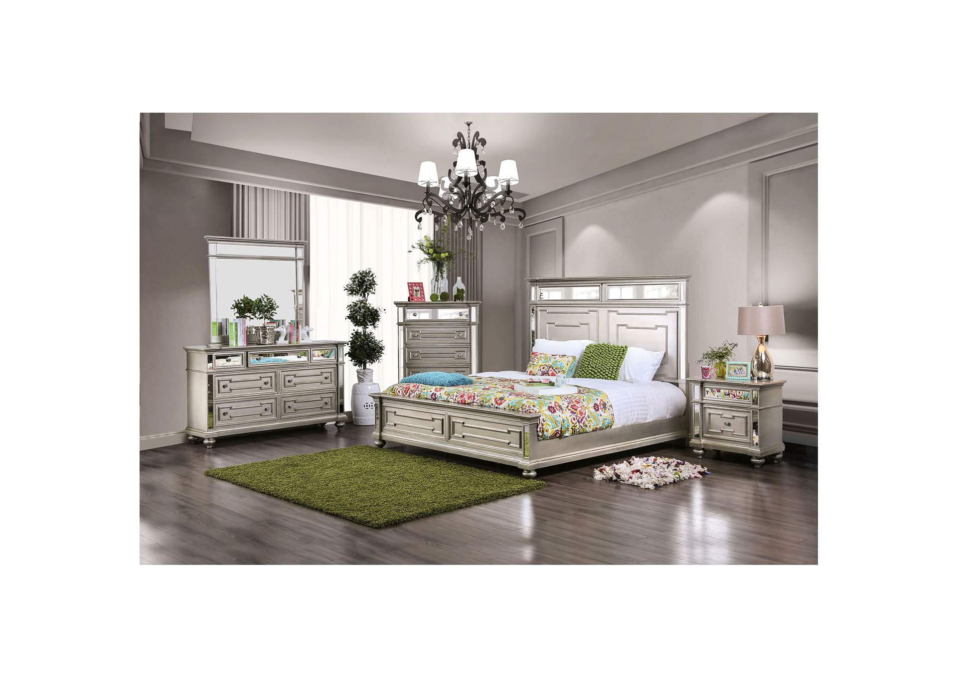 Salamanca Champagne Queen Panel Bed,Furniture of America
