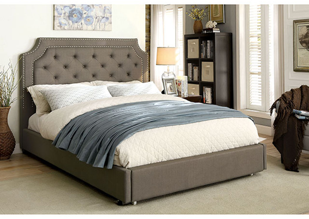 Orianna Gray Upholstered Queen Bed,Furniture of America