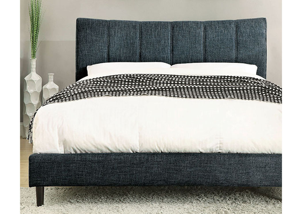 Ennis Dark Blue Upholstered Queen Bed Quality Furniture Wa