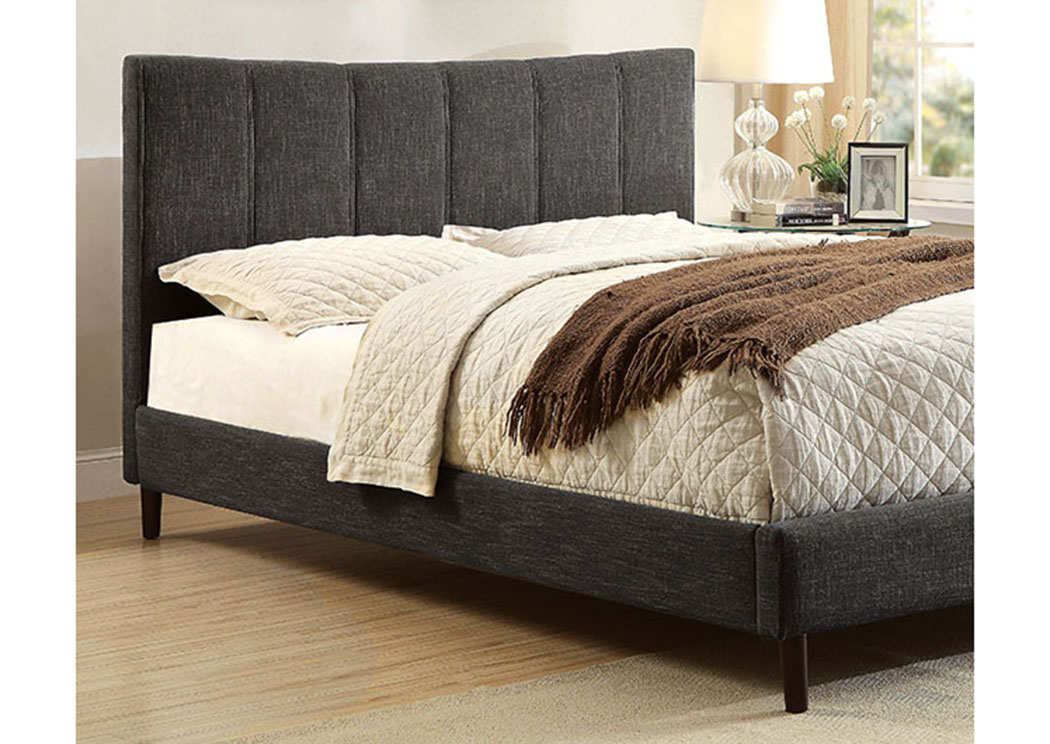 Ennis Dark Gray Upholstered Twin Bed,Furniture of America
