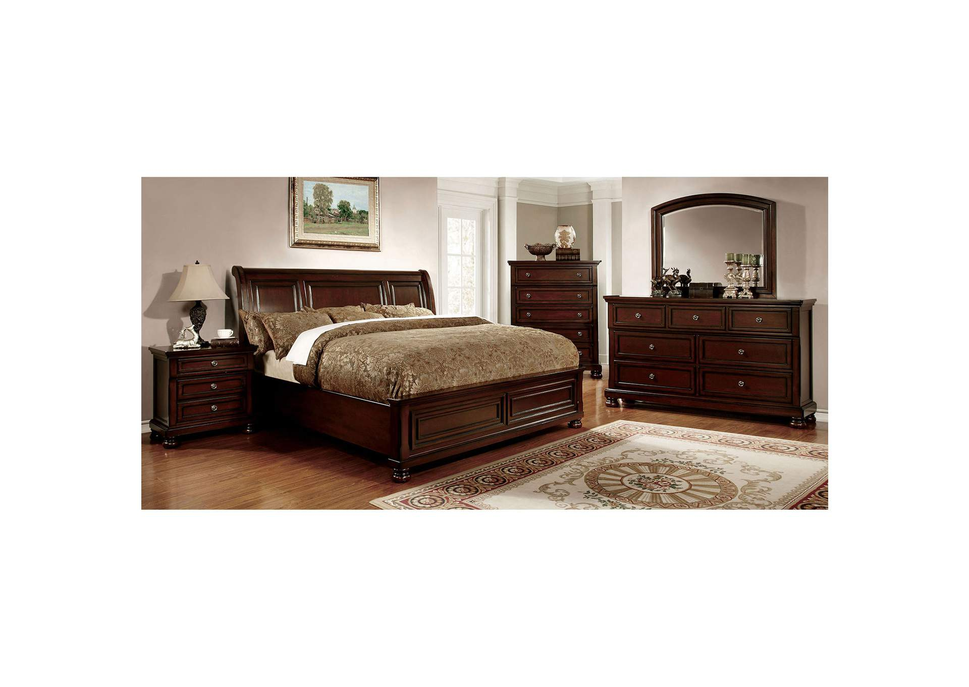 Northville Dark Cherry California King Platform Bed w/Dresser, Mirror and Drawer Chest,Furniture of America