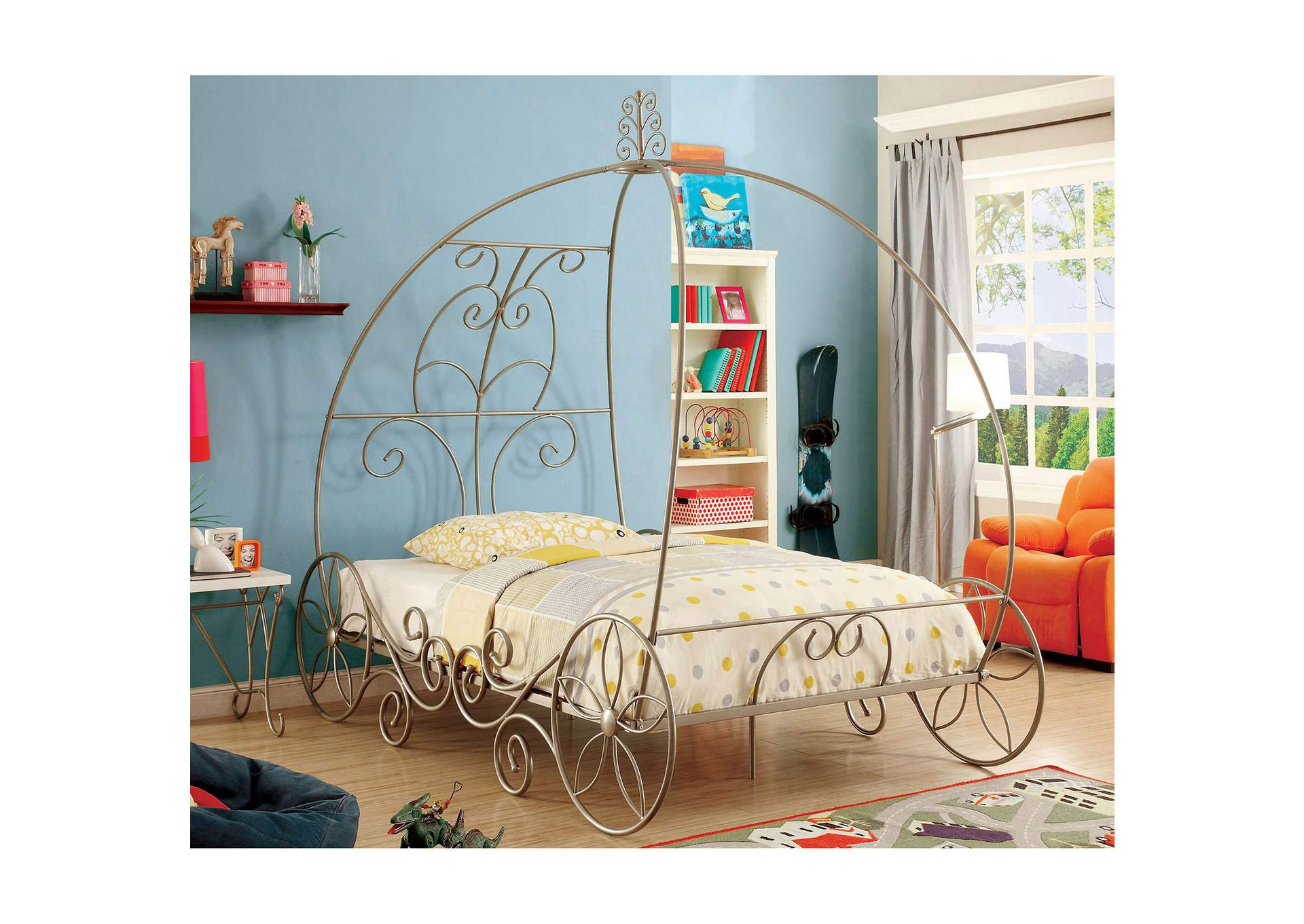 Enchant Champagne & White Twin Carriage Bed,Furniture of America