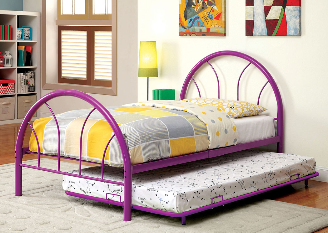 Rainbow Purple High Headboard Full Metal Platform Bed w/Trundle,Furniture of America