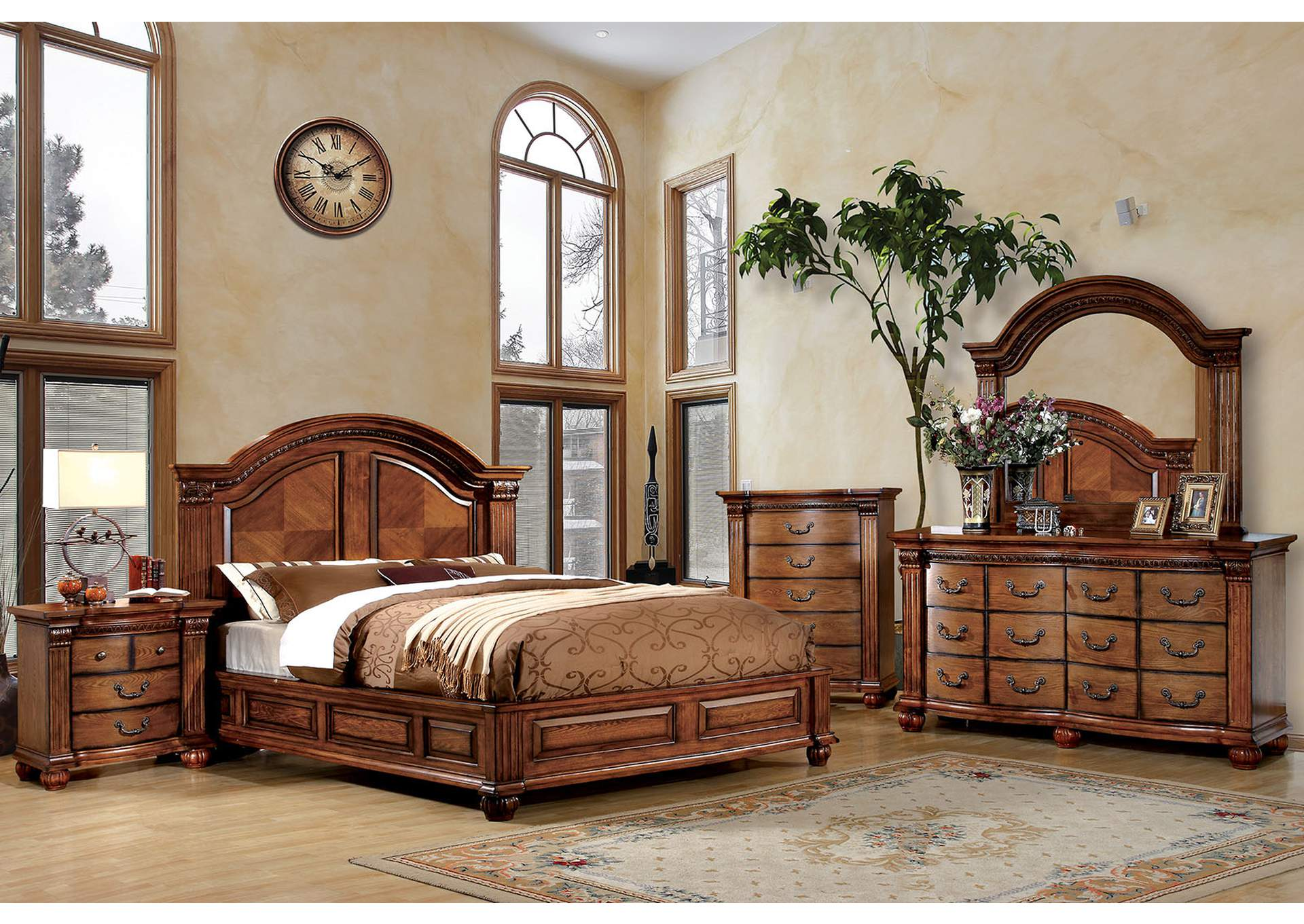 Bellagrand Queen Panel Bed w/Dresser and Mirror,Furniture of America