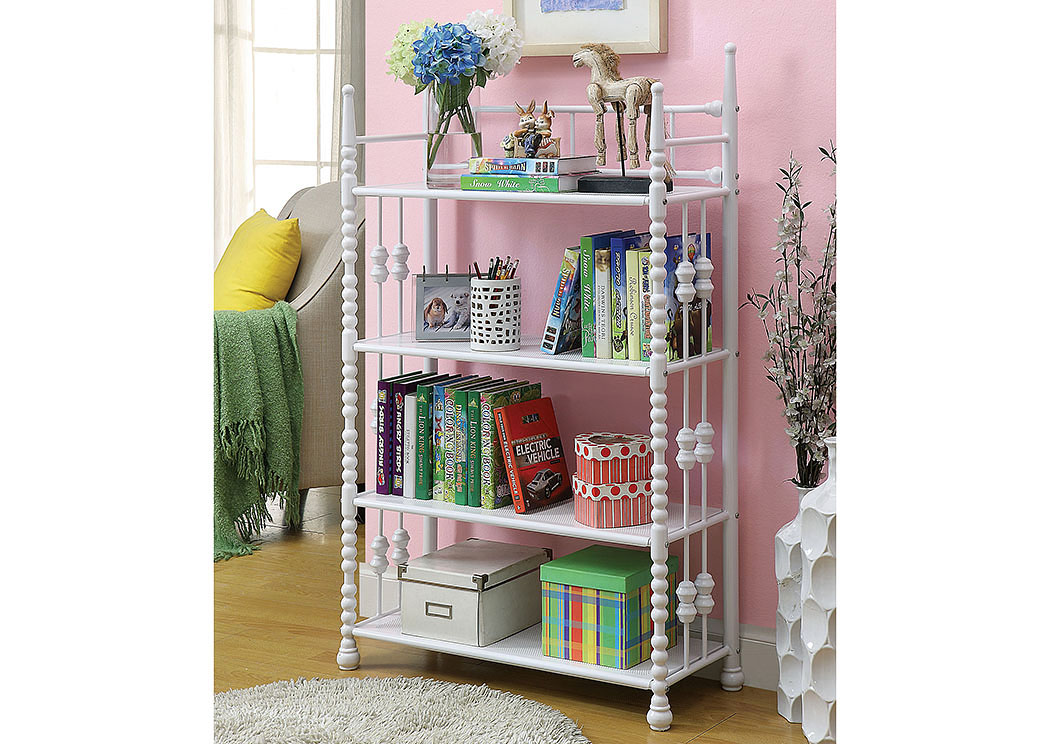 Coco Pink/White Metal Shelf,Furniture Of America
