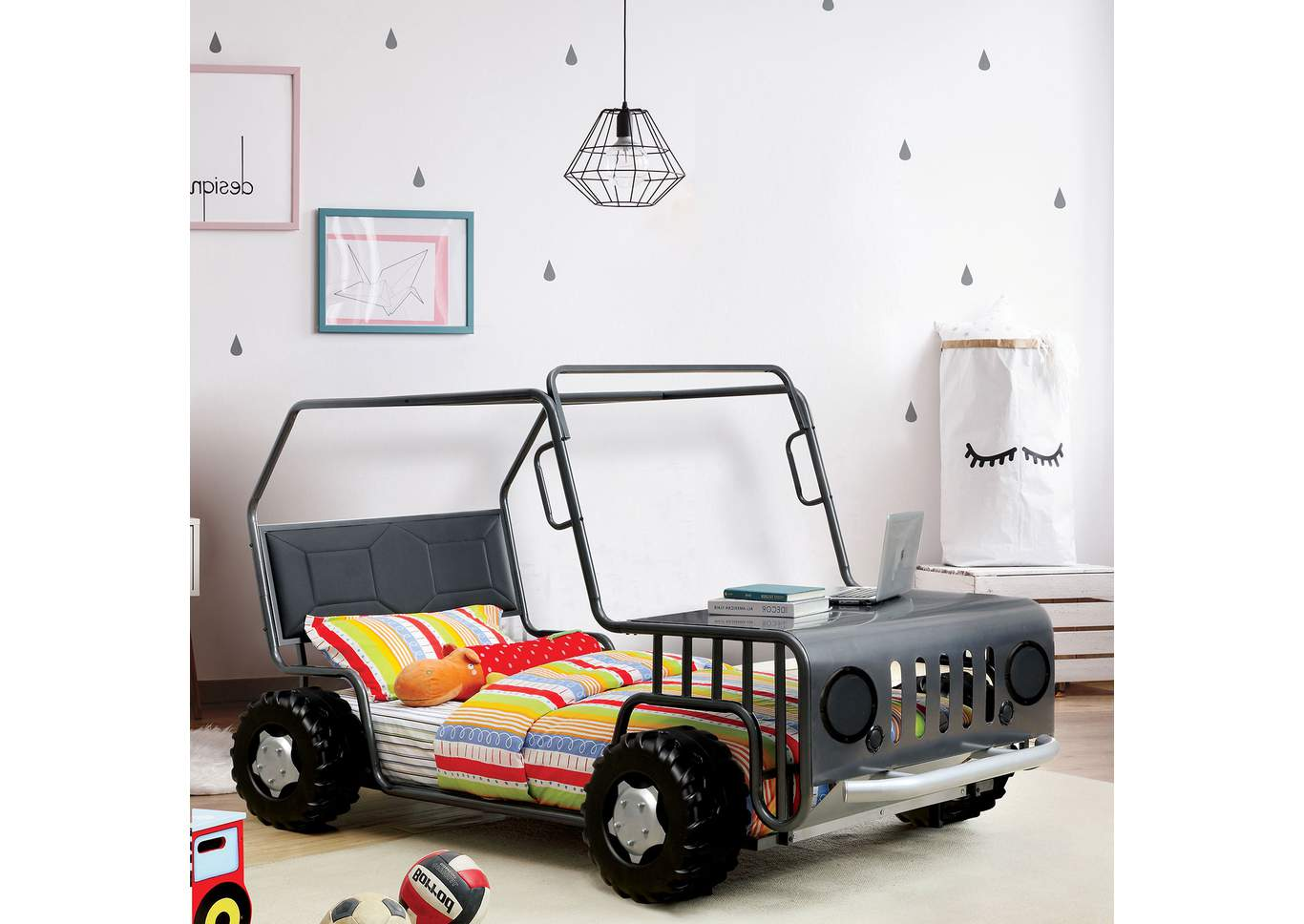 Trekker Gunmetal Leatherette Twin Rover Bed,Furniture of America