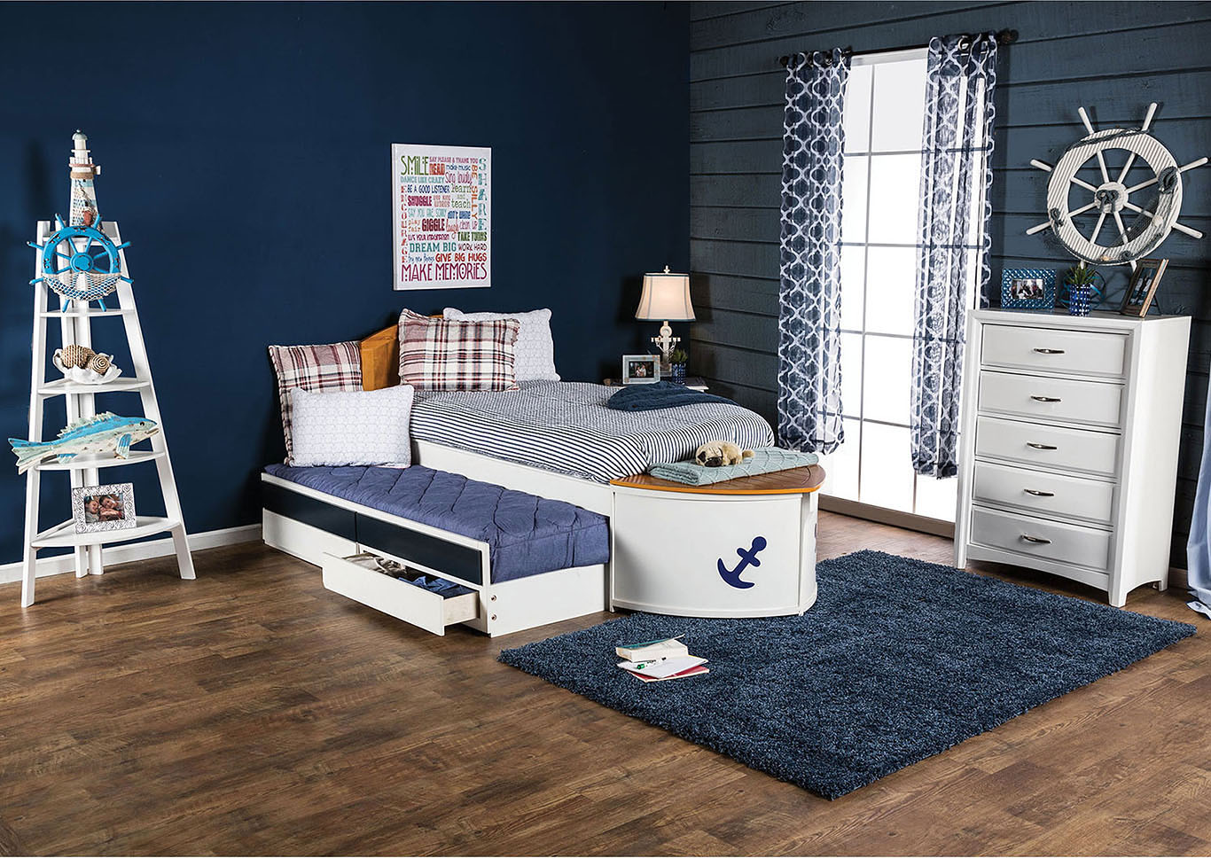 Voyager White/Oak/Navy Blue Full Captain Bed w/Trundle and Drawers,Furniture of America