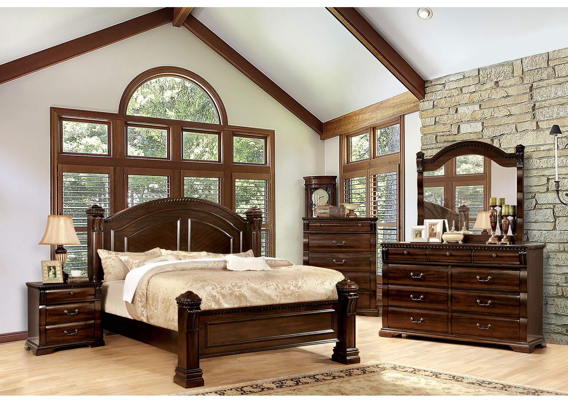 Burleigh Eastern King Poster Bed,Furniture of America