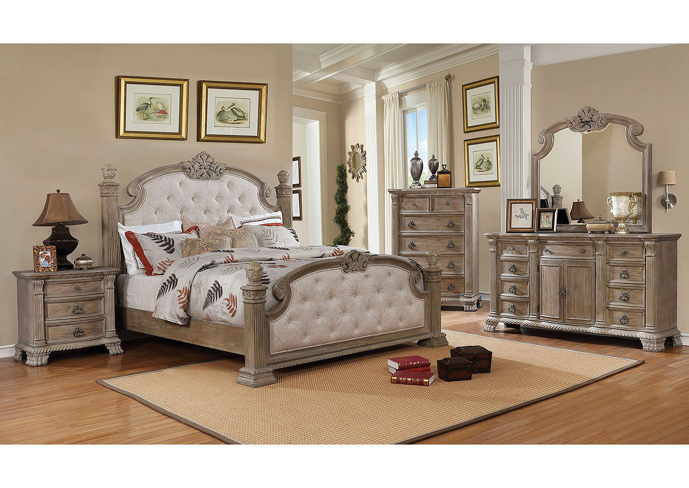 Montgomery Rustic Natural Dresser and Mirror,Furniture of America