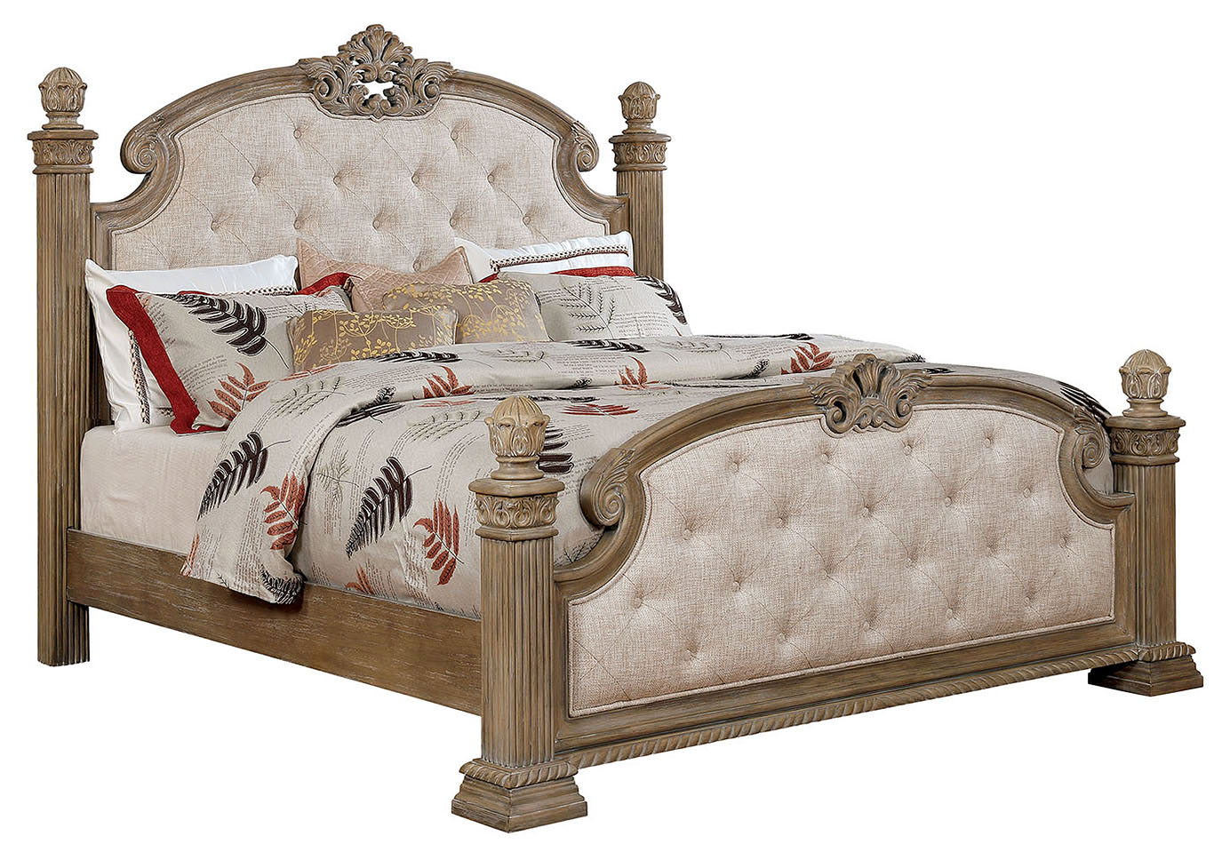 Montgomery Rustic Natural Upholstered Low Poster Eastern King Bed w/Dresser and Mirror,Furniture of America
