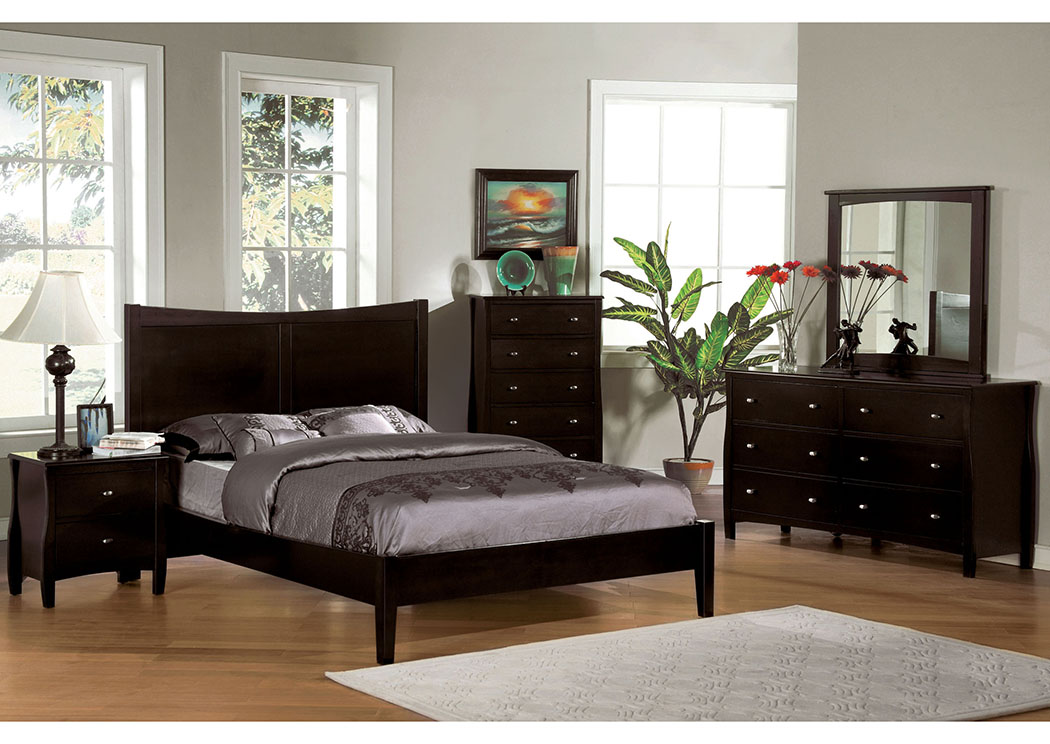 Milano Espresso Queen Platform Bed,Furniture of America