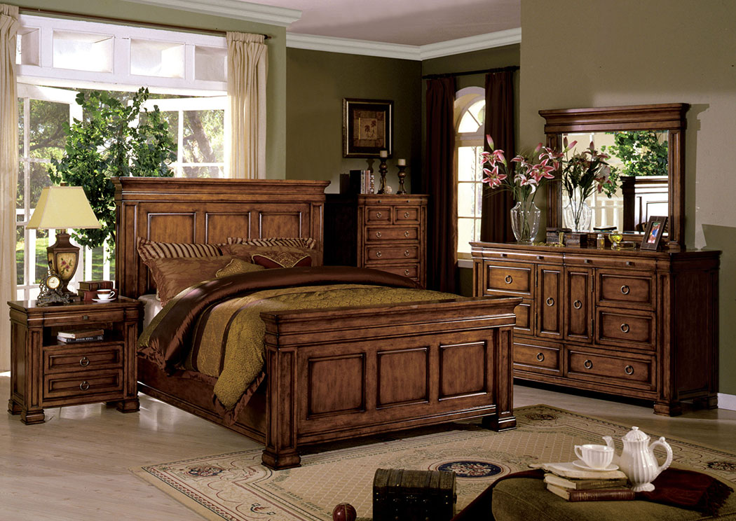 Cambridge Tobacco Oak Queen Panel Bed,Furniture of America
