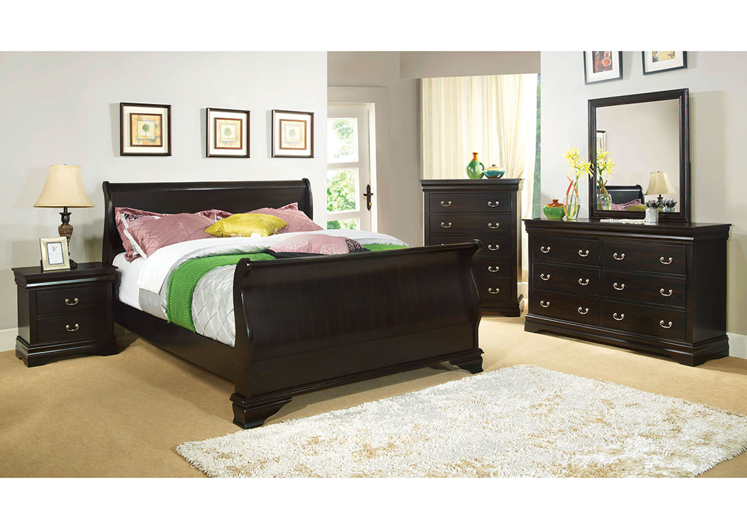 Laurelle Espresso Eastern King Sleigh Bed,Furniture of America